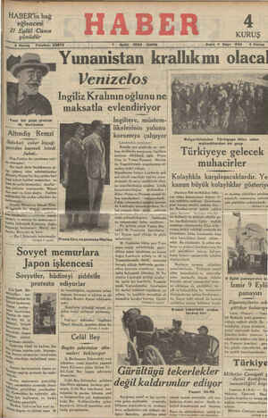 """"""" br -et - Mm 4 Kuruş — Telefon: 23872 7 Eylül 1934 CUMA Sene 4 Sayı: 8â8 — 4 Kuruş ——— ——— —a ——— —e Yunanistan krallık mı olacal Vcnızclos l C"""