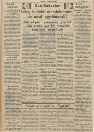 HABER — Akşam Postası îoîya ziyareti Yugoslav kralı Sof- yaya gitti Belgrat, 27 (ALA) — Yuıoı- lavya Ajansı bildiriyör:...