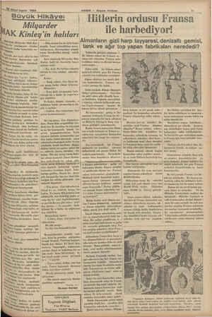 """İkinci teşrin 1934 ——— Büyük Hikâye: î Milyarder AK Kinley'in halıları Anerikalı Milyarder Mak Kin. Ve hiç b ı."""" bir..."""
