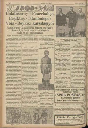 4 Galatasaray Fenerbahçe, HABER — Akşam Postast Beşiktaş - Istanbulspor Vefa - Beykoz karşılaşıyor Halkın Fener -...