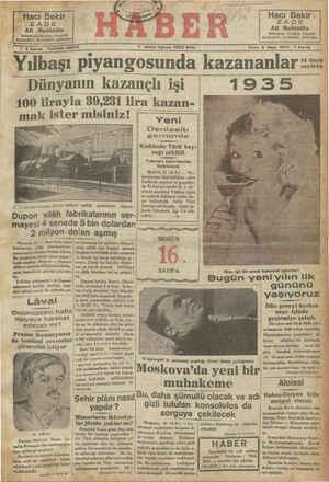 Yılbaşı piyangosunda kazananlar :: Dünyanın kazançlı işi 1935 100 lirayla 39,231 lira kazan- |
