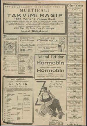 rîlklndkânun 1935 HABER — Akşam Postasmr MUHTİRALI TAKViMi RAGIP 1935 Yılına 12 Yaşına Girdi Geçen yıllarda olduğu gibi bu