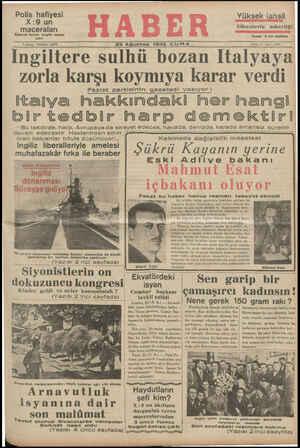 stos 1935 CUMA İngiltere sulhü bozan Italyaya zorla karşı koymıya karar verdi Faşist partisinin gazetesi yazıyor : lamlıza İaalzlzeimAalsi aa a aai