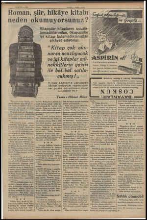 .. EYL o — 1935 HABEK — Aksam Kostüm Roman, şiir, hikâye kitabı neden okumuyorsunuz ? Kitapçılar kitaplarını ucuzla-  ...