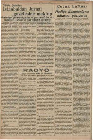 mi — — ğe .. dg. . : ————— HABER — Aksam Postası Istanbuldan Jurnal gazetesine mektup Medeniyet görmemiş palamut yavrusu-3