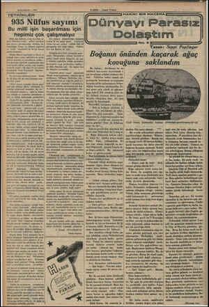 Birinciteşrin — 1935 TETKİKL KLER 935 Nüfus sayımı Bu milli işin başarılması için . . hepimiz çok Orta çağ sistemi, vergi ve