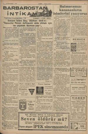 """pa 21 SONTEŞRİN — 1935 Tefrika numarası: 72 Yazan : (Vâ - m postası Babam islâm Bey, ölürken dediki: """"Gazanfer Reisin..."""