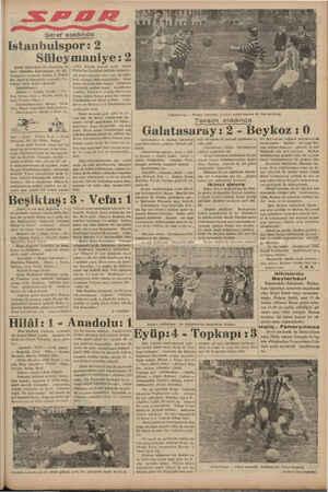 Şeref stadında istan bulspor: 2 Süleymaniye: 2! Şeref stadındaki ilk müsabaka bi. rince kümeden İstanbulspor ile Sü -...