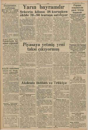 Gaziantebin kurtuluşu rr yagi Antep- iler dün bu yıldönü- münü kutluladılar Gaziantebin on dördüncü kur- tuluş yıldönümü dün