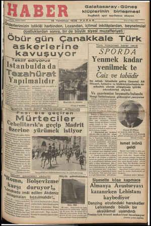 """Galatasaray - Güneş klüplerinin birleşmesi Bugünkü spor sayıfamızı okuyun 5 e Teltoni 23872 19 """"Temmuz 1936 PAZAR — —— Sene:"""