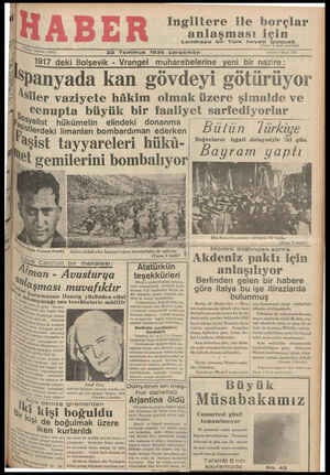 1 el 2 22 Temmuz 1936 çarsamba A ea SDanyada kan govdeyı gOtâlruyor Âsiler vaziyete hâkim olmak üzere şimalde ve Ceoanıınta Hhizwitlz hir faaliweoet carfadivynrlar
