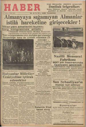 """I Almanyaya sıgamıyan Almanlar istilâ hareketine gırışeeekler' ı""""litler yenı emellerını Nurem-"""