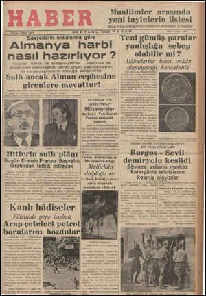 $ Kuruş - Telefon: 23872 Muallimler arasında yeni tayinlerin listesi Dün neşrettiğimiz listenin mabadı 2 ncide 20 EYLUL 1936