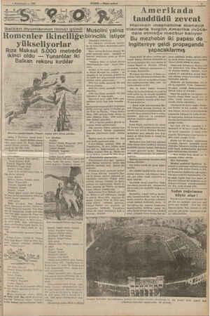 — 4 Birinciteşrin — 1538 Balkan oyunlarının Ikinci günü   Musolini yalnız Romenler yükseliyorlar Rıza Maksut 5.000 metrede