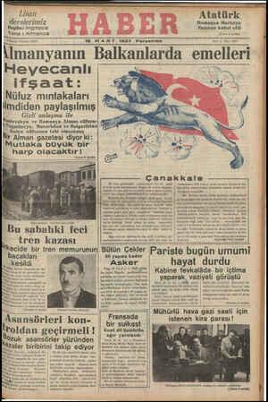 18 MART 1937 Perşembe leanyanın Balkanlarda emellerı Heyecanlı SAT İfşaat: VÜ