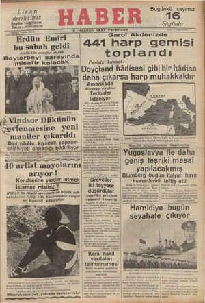 Lisan derslerimiz Bugün: Ingilizce Yarın : Almanca , . 123872 5 Kuruş Telefon © Erdün Emiri | bu sabah geldi Atatürkün...