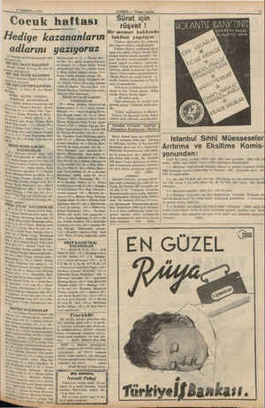8 TEMMUZ — 1937 * ocuk haftası Hediye kazananların adlarını yazıyoruz 19 Haziran tarihli bilmecemizin halli (Nargile) idi,