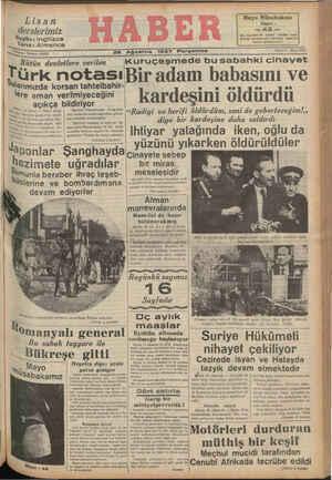 Lisan derslerimiz ! Bugün: Ingilizce arın : Almanca $ Kuruş - Telefon: 29872 26 Ağustos 1937 Perşembe Mayo Müsabakası Kupon