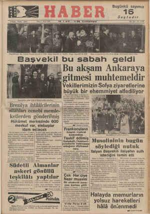 """""""E $ Kuruş Telelon 23872 14 Başvekilimizin dün Sofyada karşılanışme ait Üç inliba: Bulgar Başvekili ile beraber, Bulgar..."""