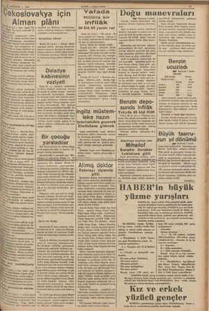 """Çekoslovakya için ., Alman plânı May (A.A) — Yarı resmi """"Na- ( retmekte ve Henlayn taraftarlarma Pita, bu sabah neşrettiği"""