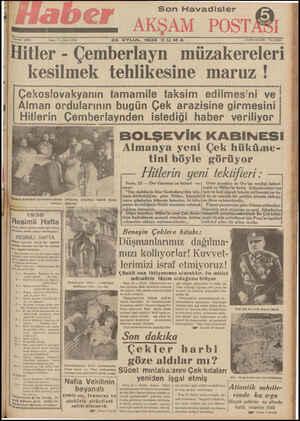 [ Hitler - Çemberlayn müzakereleri '1 - kesilmek tehlikesine maruz ! i Çekoslovakyanın tamamile taksim edilmesini ve