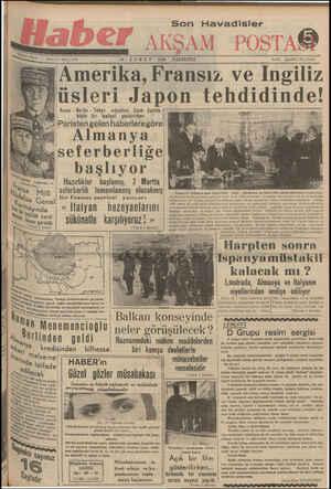 e - — —— b T 1930 — PAZARTESİ | EŞ3Amerika, Fransız ve İngiliz | Wiüsleri Japon tehdidinde! & | Roma - Berlin - Tokyo müsellesi Uzak Sarkta |