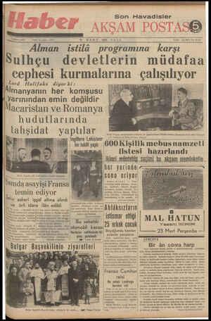 M BÖ T Fi 2 öttt GA C F___ı Ti u S Teleton: T 1930 İLÂN İŞLERİ; Tel. 20335 Alman istilâ programına karşı Sulhçu_ devletlerin müdafaa