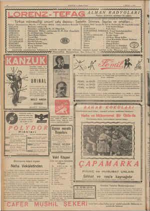 ORENZ-TEFA Türkiye mümessilliği umumi satış deposu: HAB ER — Akşam Postast 9 NİSAN — 1939 ALMAN RADYOLARI Radyo âleminin