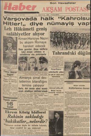 """Telefon: 23872 Sene: İVarşovada halk """"Kahrolsu (MA Yk 1939 Son Havadisler PERŞEMBE İLÂN Hitler!,, diye nümayiş vap Leh..."""