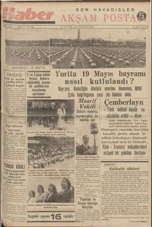 — — 20 MAYIS 1939 CUMARTESİ İlâm işleri: Tel, 20335 — — TT — AA Z *