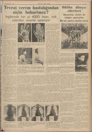3 AĞUSTOS — 1939 Tevrat verem HABER Akşam Postası hastalığından niçin bahsetmez? İngilterede her yıl 4000 insan, inek...