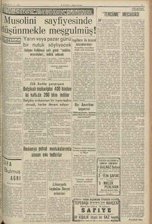 <a MAYIS — 1540 ÜLKEN NESEİ MORS   Musolini sayfiyesinde SR Akmen Kerim İlüşünmekle meşgulmüş! Kr Cumhyrrelatnin kâtibi, 6m