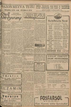 PM Sami —— gr eg Ta eş AZIRAN — 1940 MAZON MEYVA TUZU HABER — Akşam Postası 5 Müferrin ve midevidir ni NAKLEDEN: BURHAN...