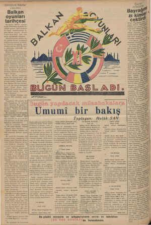 """Şimdiye yapılan Balkan oyunları tarihçesi On birinci Balkan Oyunları bugün Fenerbahçe stadında me"""" rasimle açılıyor."""