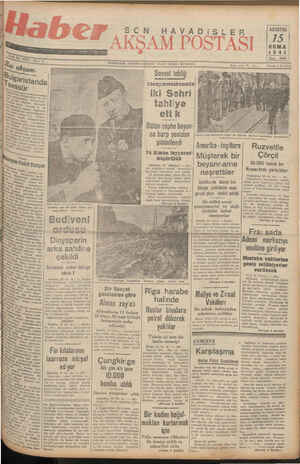 İDAREYERİ: ANKARA CADDESİ V AKFT YURDU: Sovyet tebliği tahliye eti k ca harp yeniden şiddetlendi Mm sevgi) BE Ziya Eli...