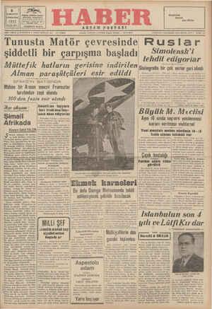 ş Tunusta Matör çevresinde şiddetli bir çarpışma başladı Müttefik hatların gerisine indirilen paraşütçüleri Alman Kn AR RE