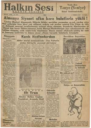 Halkın Sesi Gazetesi 3 Temmuz 1934 kapağı