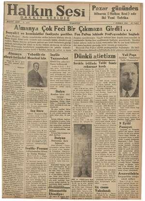 Halkın Sesi Gazetesi 7 Temmuz 1934 kapağı