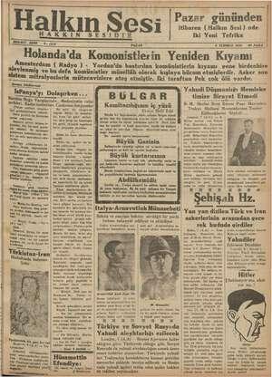 Halkın Sesi Gazetesi 8 Temmuz 1934 kapağı