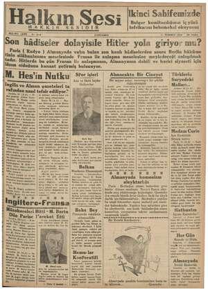 Halkın Sesi Gazetesi 11 Temmuz 1934 kapağı