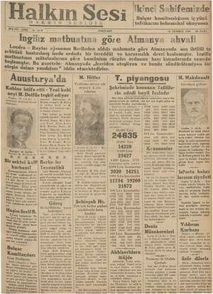 Halkın Sesi Gazetesi 12 Temmuz 1934 kapağı