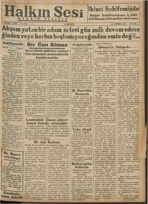 Halkın Sesi Gazetesi 14 Temmuz 1934 kapağı