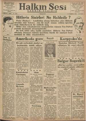 Halkın Sesi Gazetesi 16 Temmuz 1934 kapağı