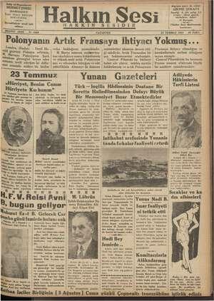 Halkın Sesi Gazetesi 23 Temmuz 1934 kapağı