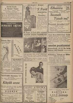 7 Birinci Kânun YEN - Sahife 3 ( Halkın Sesli ) MM im hi ni MAİ 4 ey ECZACI BAŞI © sis DOKTOR A ly Elh ra Tel, & A. Kemal...