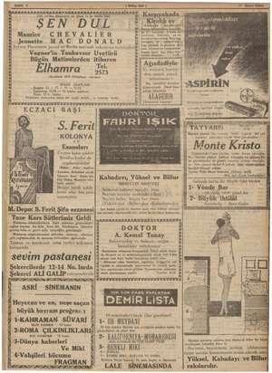 31 Birinci Kânun ( Hlkam Sesi) 1935. sinema .dünyasinın en Güzel ve en büyük filmi Maurice. CHEVALİER Jeanette.. MA C DONALD