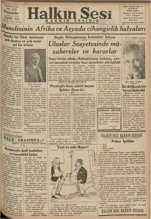 AKKIN m Halkın Sesi SESID SIRRI SANLI e İzmirde ai ei J (Halkın Sa da Basılmı Geçmiyen yazı geri izledi Musolininin Afrika