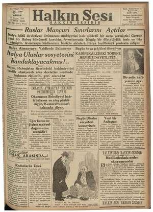 KE e EK — KERR ERER e A EE ALTINCI YIL NO. 2786 Cuma 15 Mayıs 1936 e vee TELEFON 3503 FİATI (100 ) Para AKKIN Italya...