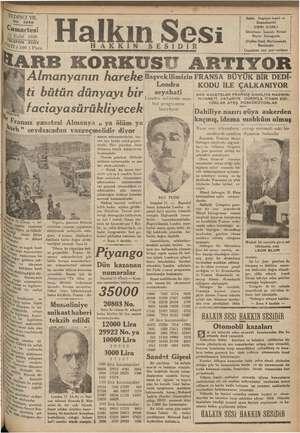 © YEDİNCİ YIL No, NO. 2888 Cumartesi Eylül 1936 LL EFON 3503 ATI (100 ) Para pPransız gazetesi Almanya ŞE. via İrtem...