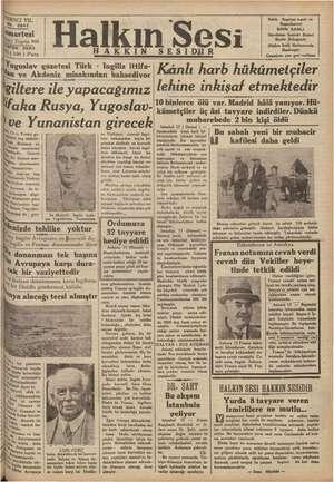 ADİN No. Cİ YIL İs 2942 ii artesi Ci Teşrin 9386 İn ON 3503 (100 ) Para Halkın Sesi SESIDİIR AKKIN Yugoslav gazetesi Türk